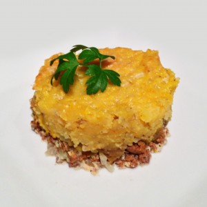 Beef parmentier with winter squash and potato puree